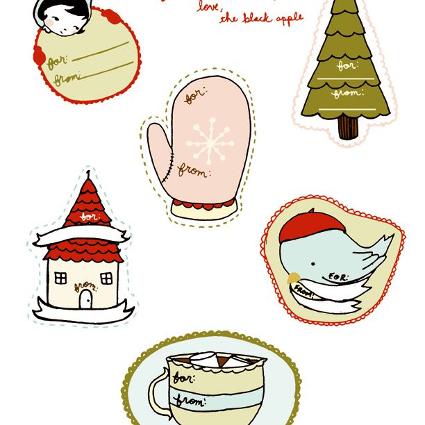Gift tags with a mitten, tree, bird, and more.