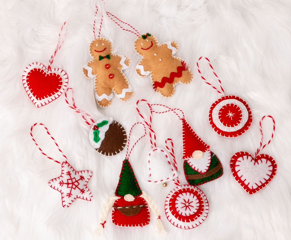 Felt gnomes, gingerbread men and other festive shapes.
