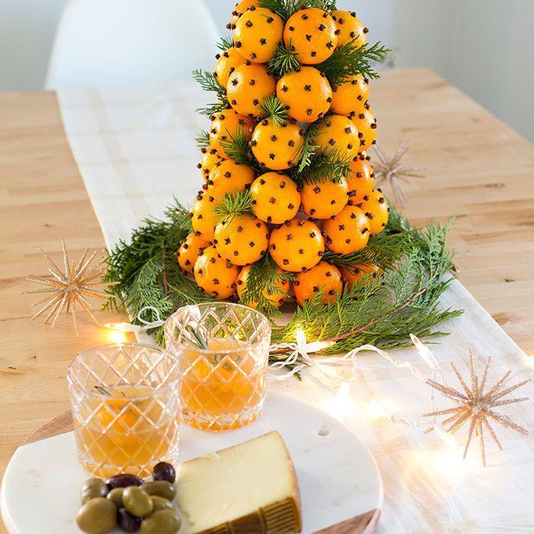 DIY Orange And Clove Christmas Topiary Centerpiece