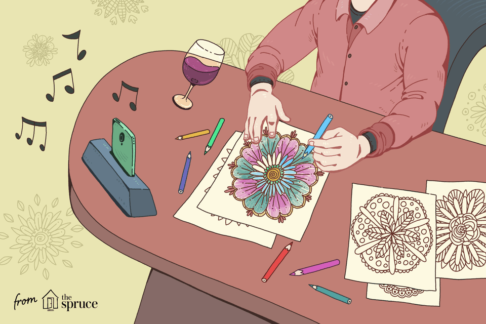 An illustration of a man coloring a mandala coloring page