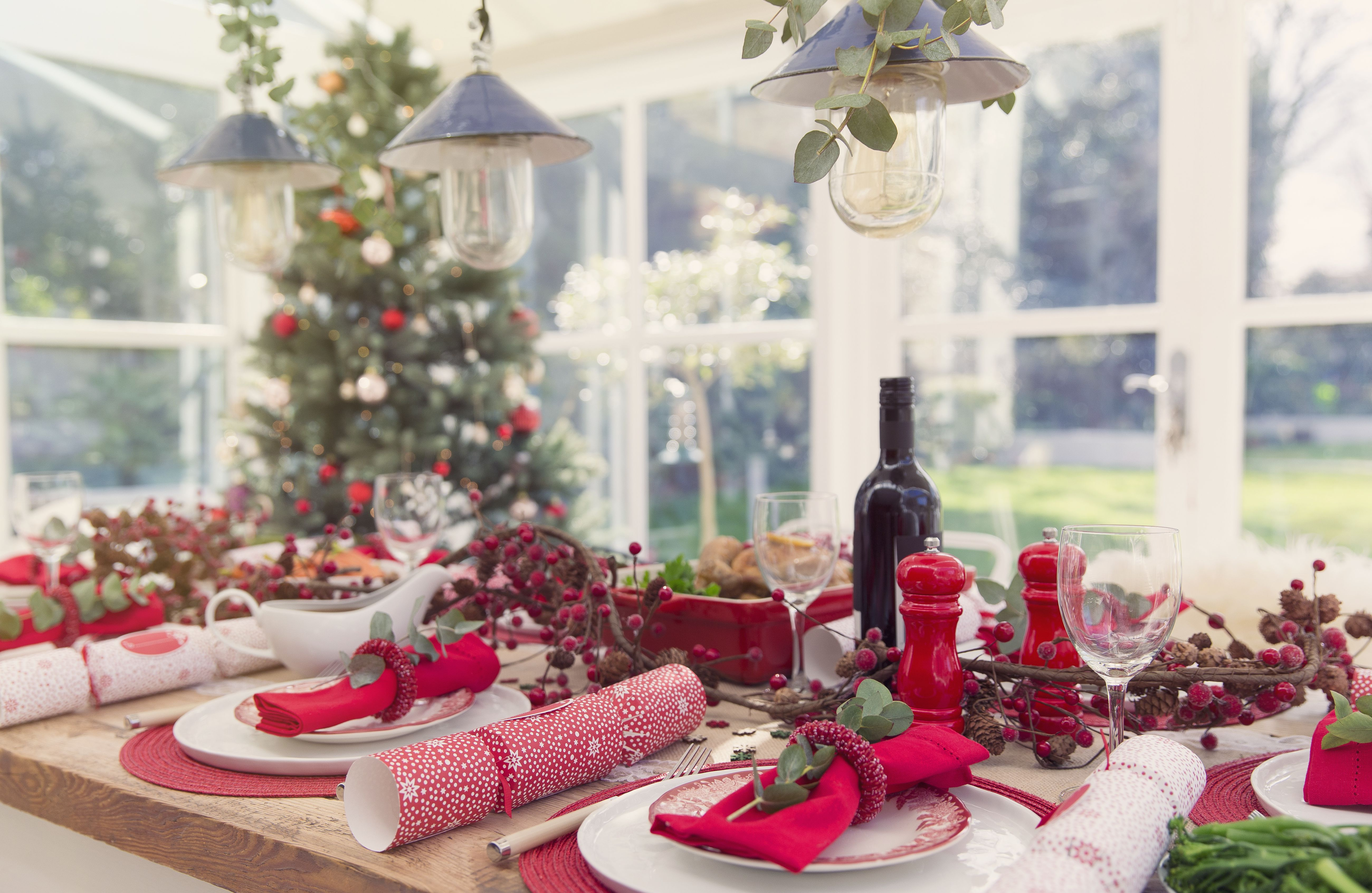 Placesettings and decorations on Christmas table