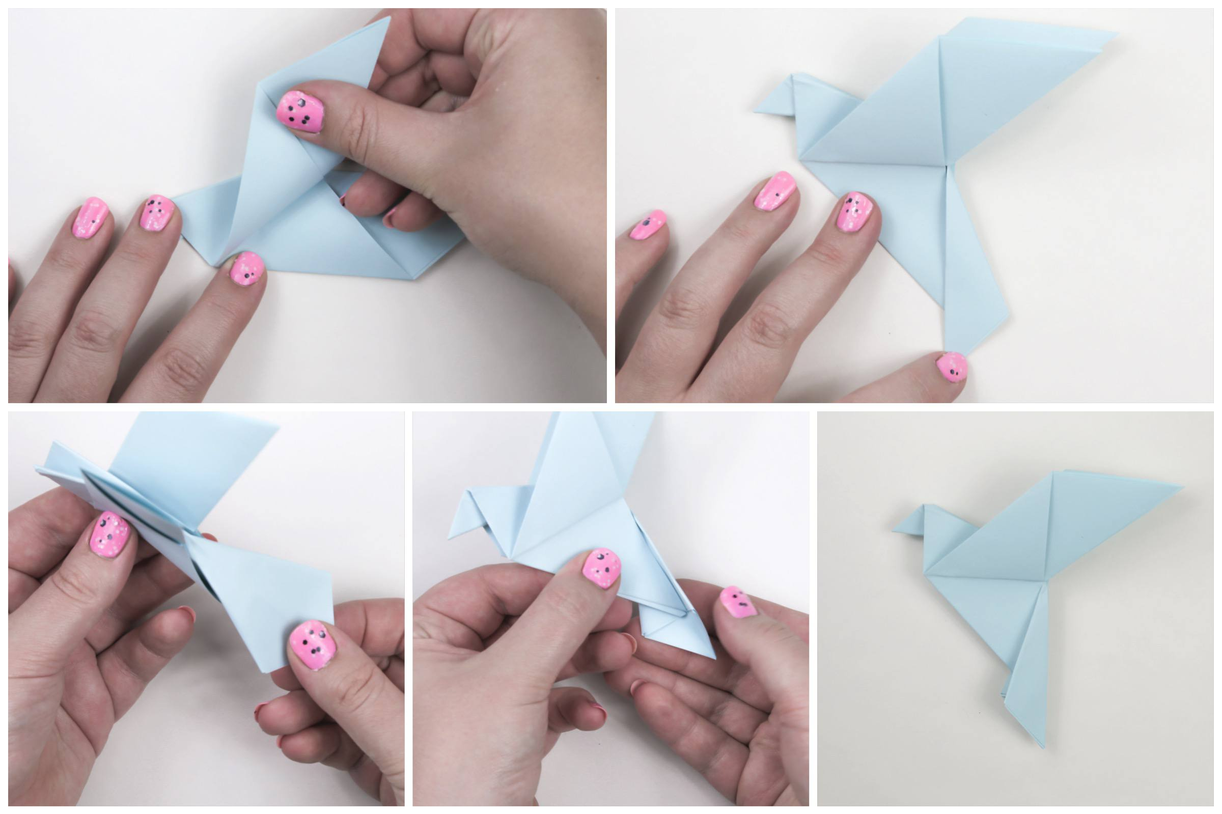 Finishing folds of the origami peace dove