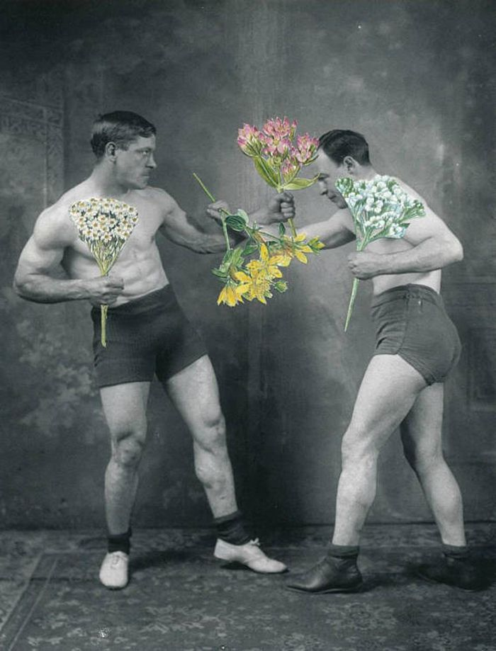 Vintage men boxing with flowers collage card