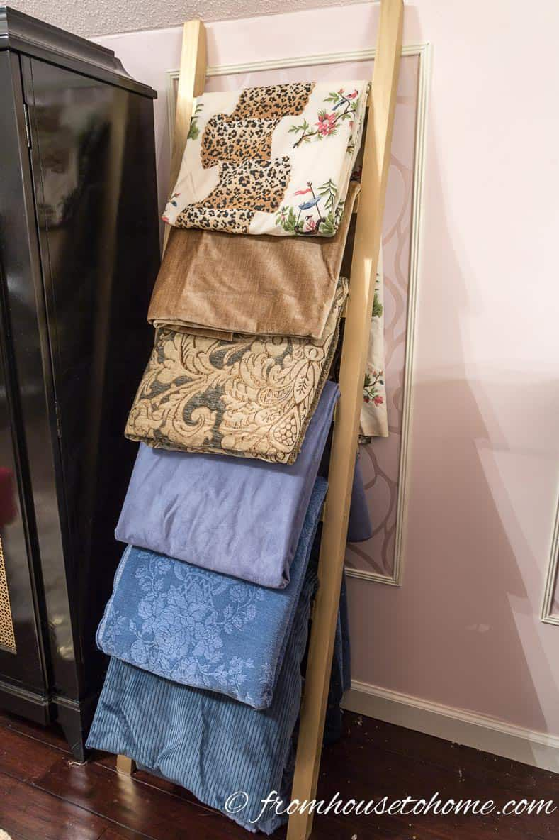 ladder for fabric storage