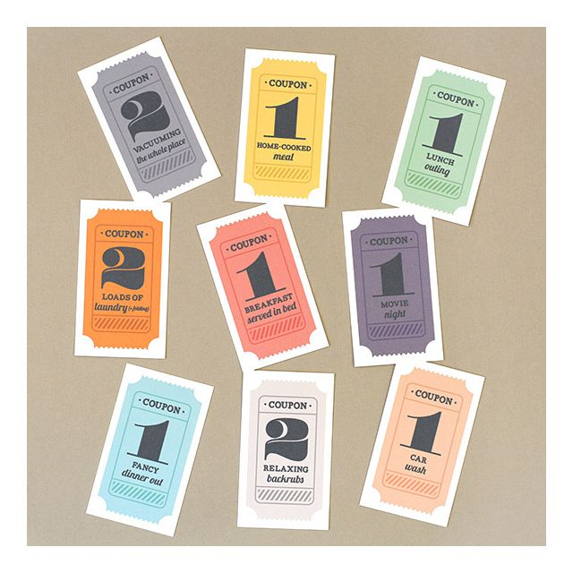 Gift coupons in various colors.