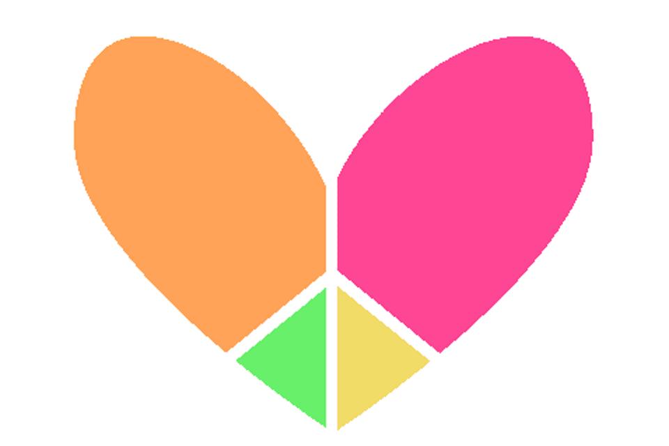 Screenshot of multi-colored heart peace sign clip art