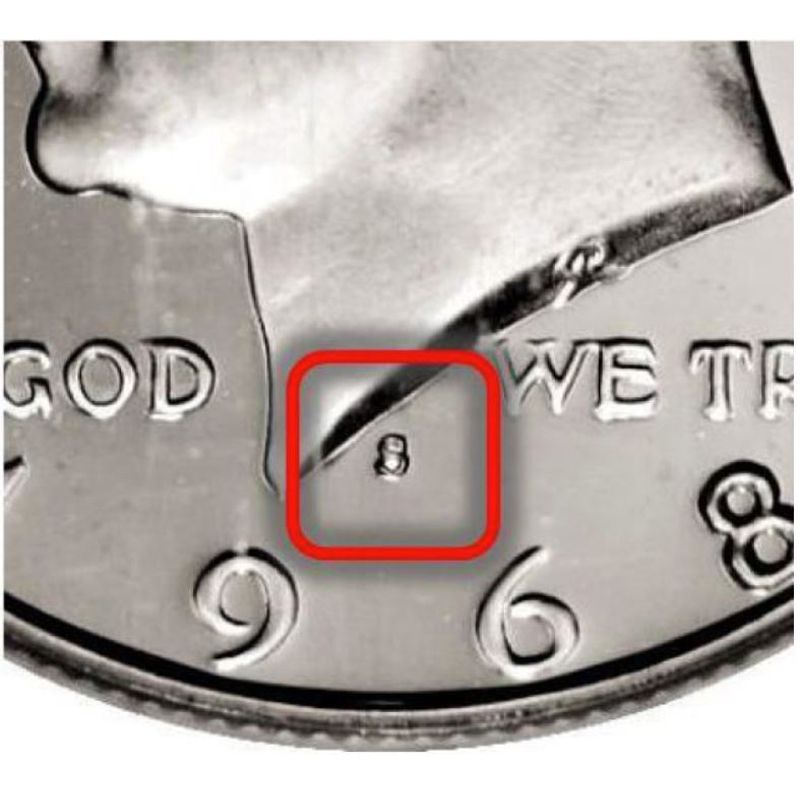 Mintmark location on Kennedy half dollars minted on or after 1968