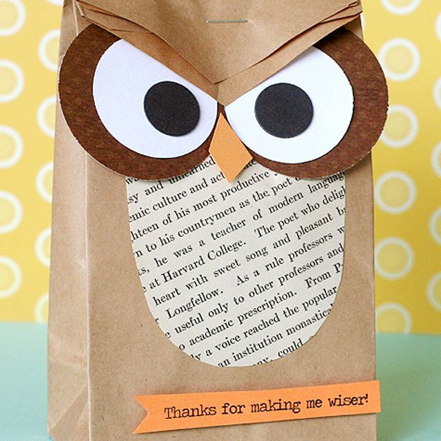 paper bag owl treat bag