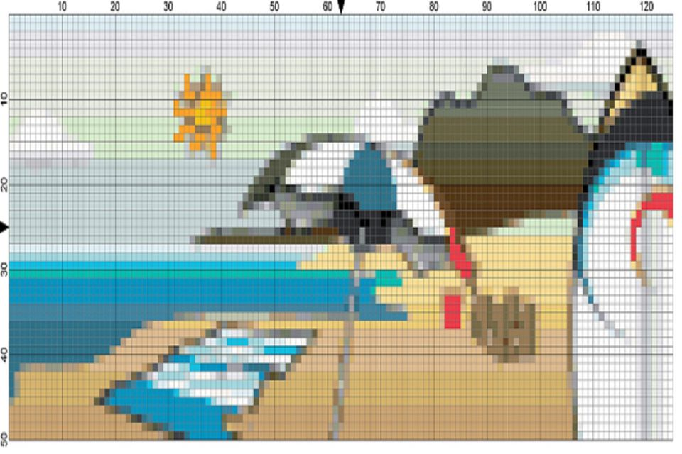 final summer beach scene needlepoint chart image