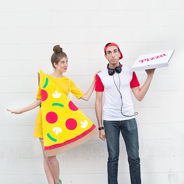 DIY pizza slice and delivery guy costumes