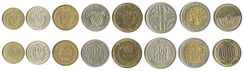 These coins are currently circulating in Colombia as money.