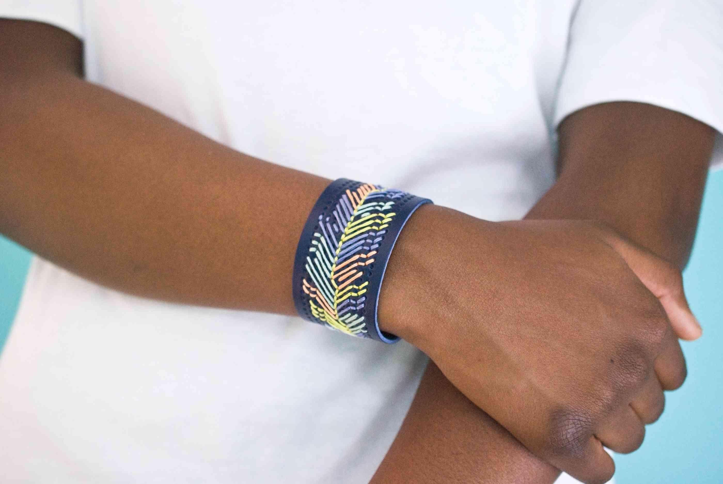 How to Embroider a Cross-Stitch Cuff Bracelet