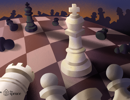 Illustration of chess pieces fallen down
