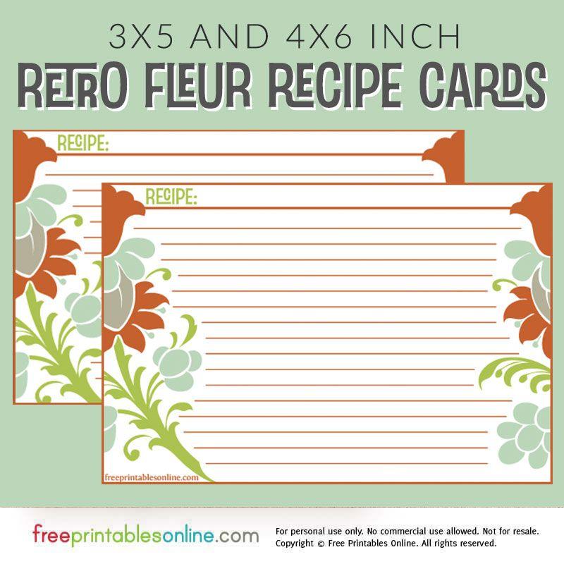 Green and orange retro style recipe cards