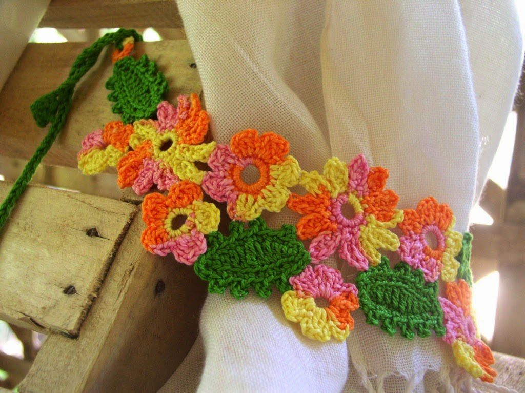 19 Free Patterns For Crochet Curtain Tie Backs