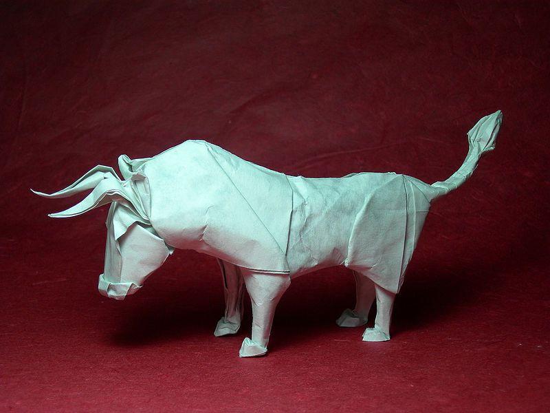 Wet Folding Origami Bull