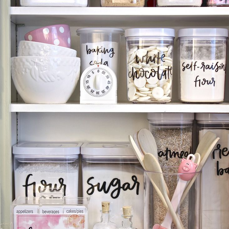 A pantry with clear labels on everything