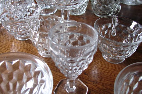 Fostoria glass on a wooden table
