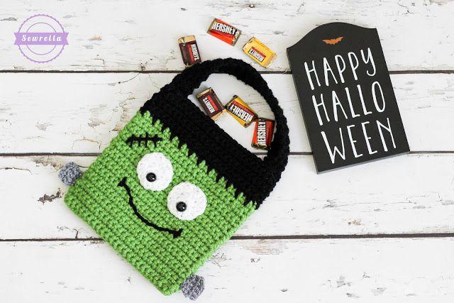 Frankenstein Trick or Treat Crochet Bag Free Pattern
