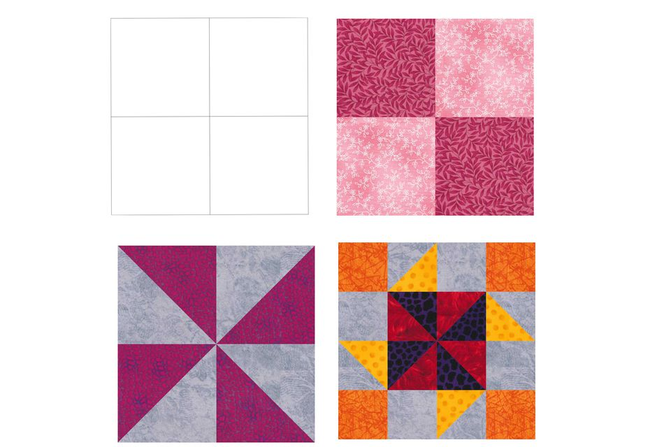 Examples of four patch quilt blocks