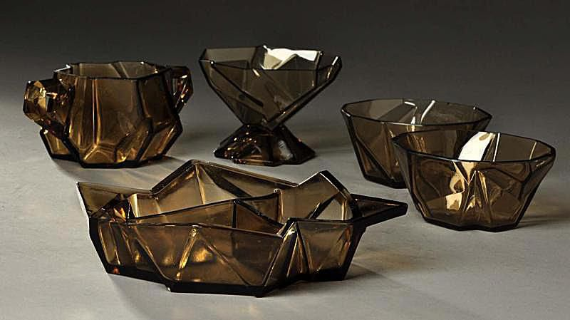 Ruba Rombic Glassware in Smoky Topaz