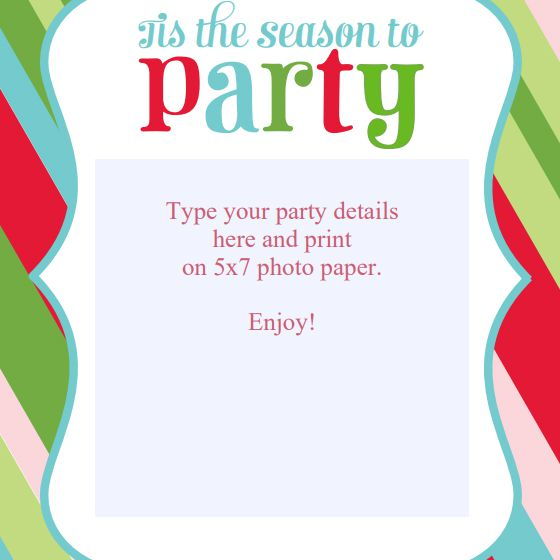 A Colorful Striped Christmas Party Invite