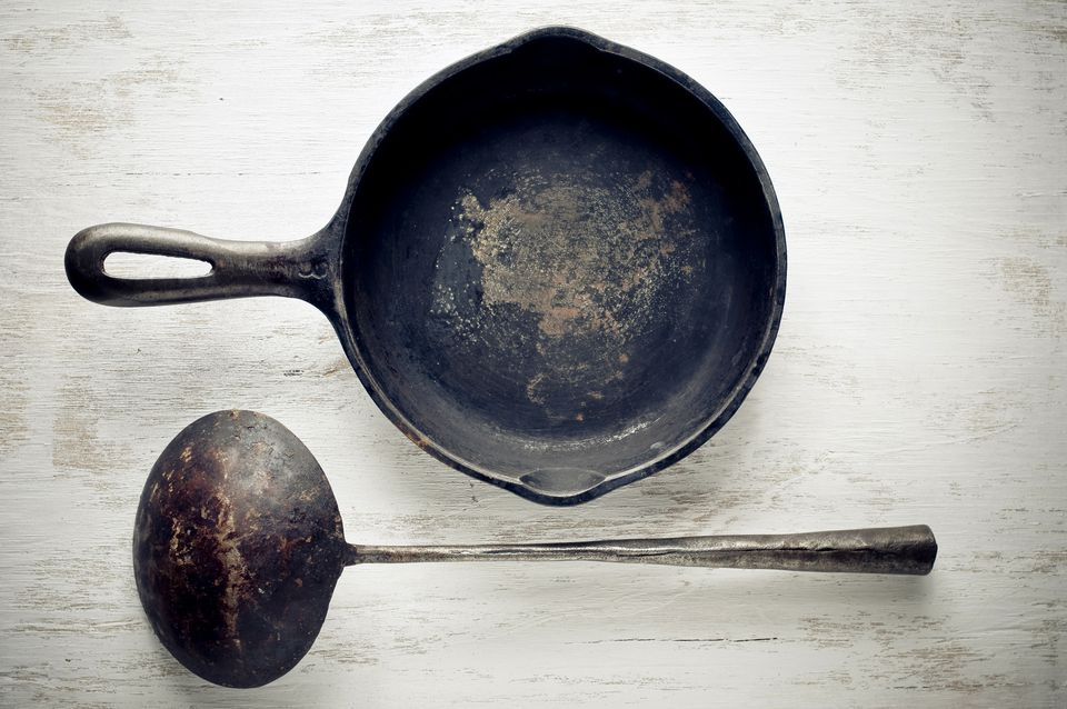 Vintage cast iron pan and ladle