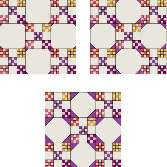 Three sizes of Snowball Block tips shown alongside a Double Nine-Patch quilt block.