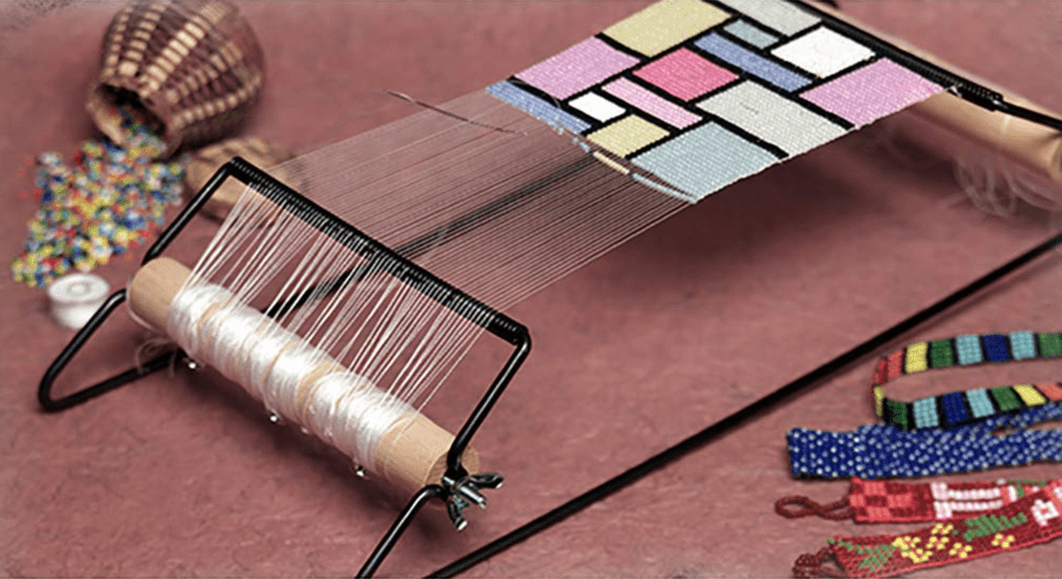 Beading loom with beads