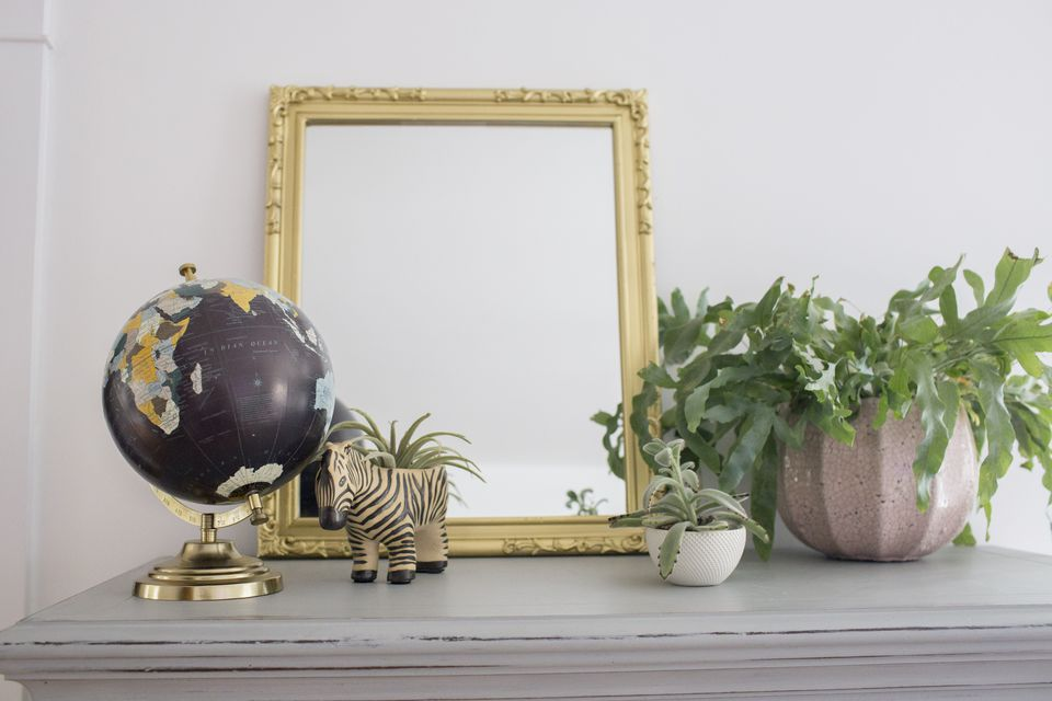 Mirror with a painted gold frame