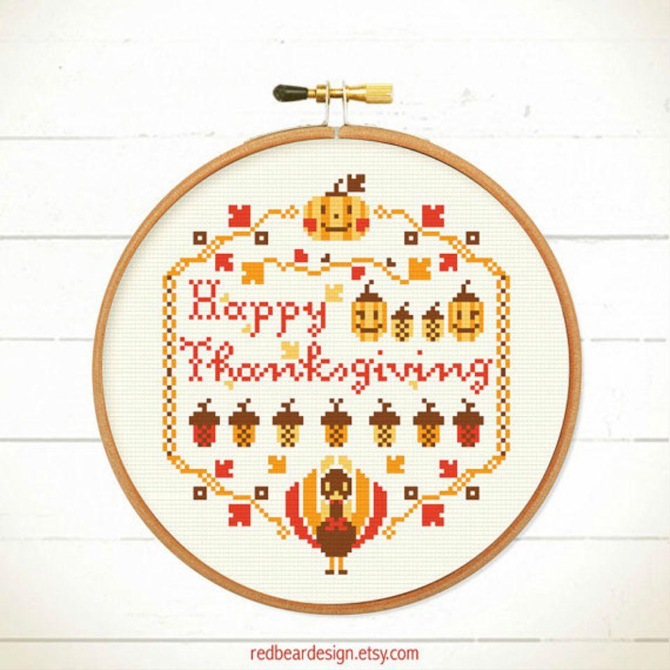 happy thanksgiving cross stitch pattern