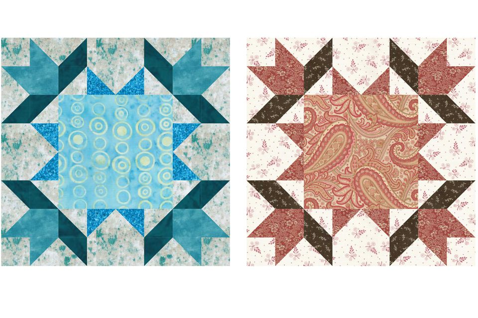 16 Points Frame Quilt Block Pattern