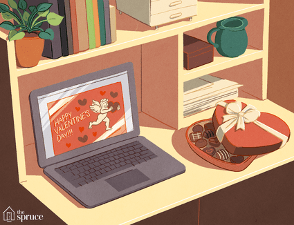 An illustration of a Valentine's Day card on a laptop screen with a box of chocolate hearts next to it.