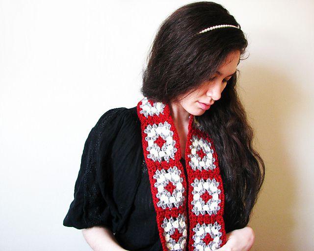 Granny Square Scarf Crochet Pattern