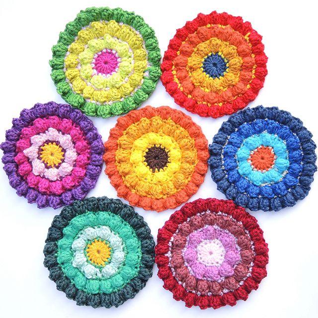 Color Burst Crochet Coaster Free Pattern