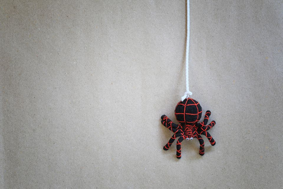 Spider doll hanging on the wall.