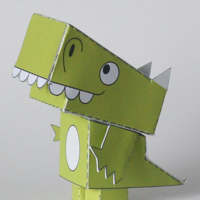 DIY folded paper dinosaur toy