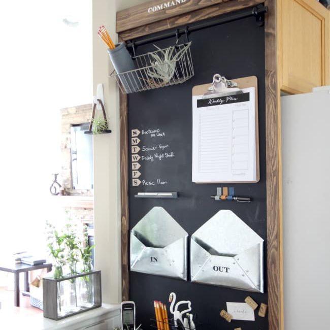 DIY wall organizer with chalkboard