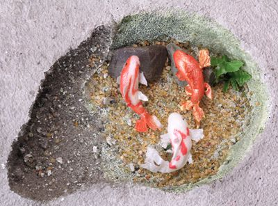 Model water features made on a base of dry floral arrangement foam are easily adjusted for size