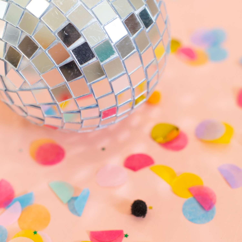 DIY disco ball with confetti