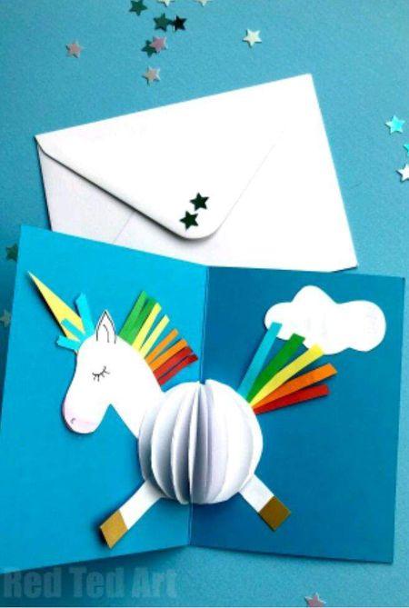 25 easy diy thank you cards 3d unicorn card m4hsunfo