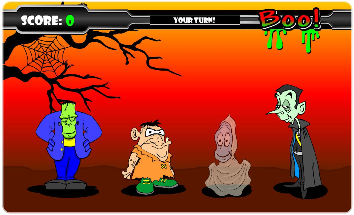 A group of Halloween cartoon characters