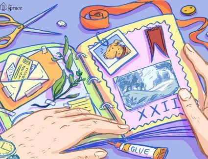 Illustration of a man's hands scrapbooking