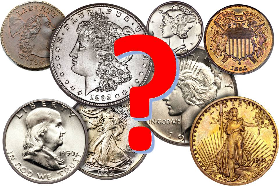 Various US coins with a question mark.
