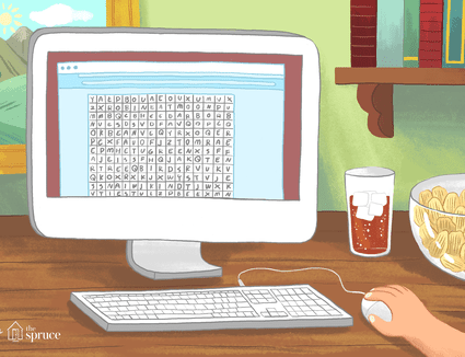 Word search puzzle on computer screen