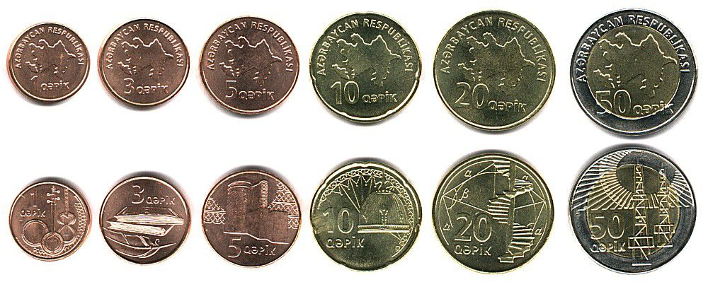 These coins are currently circulating in Azerbaijan as money.
