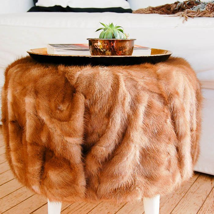 DIY Vintage Fur Ottoman