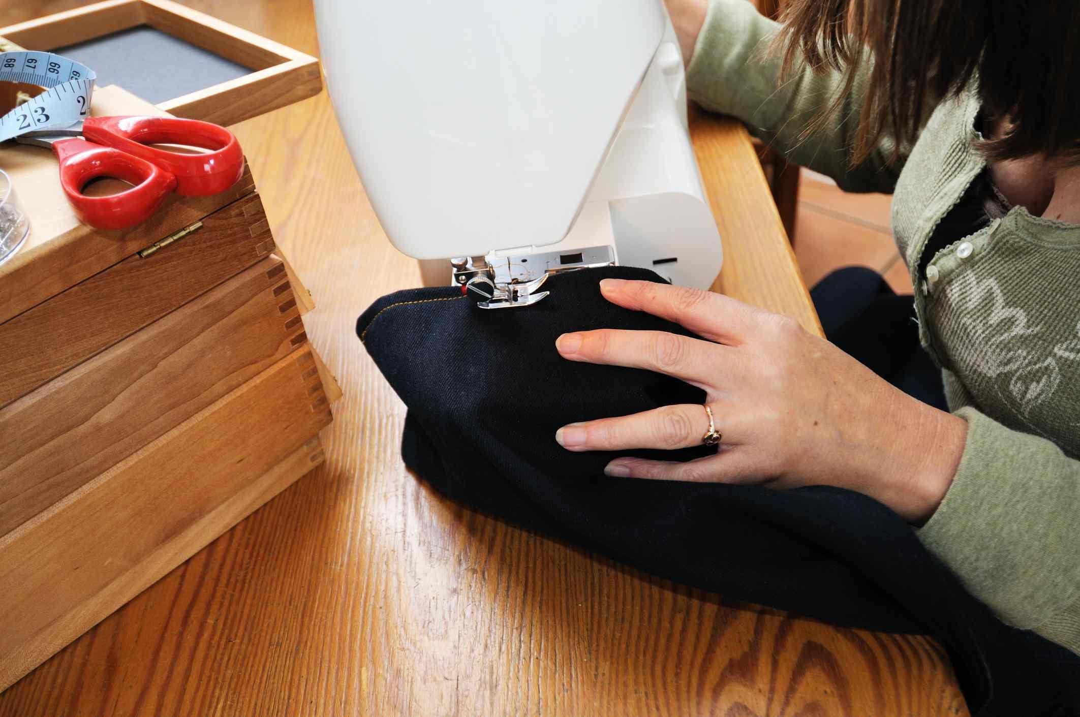 Hemming denim jeans