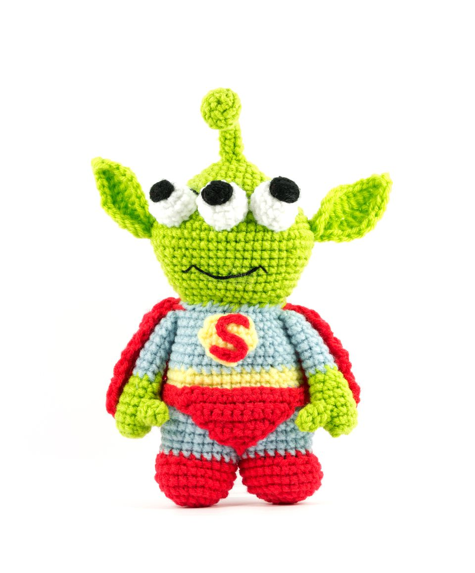 handmade crochet green alien three eyes super hero doll