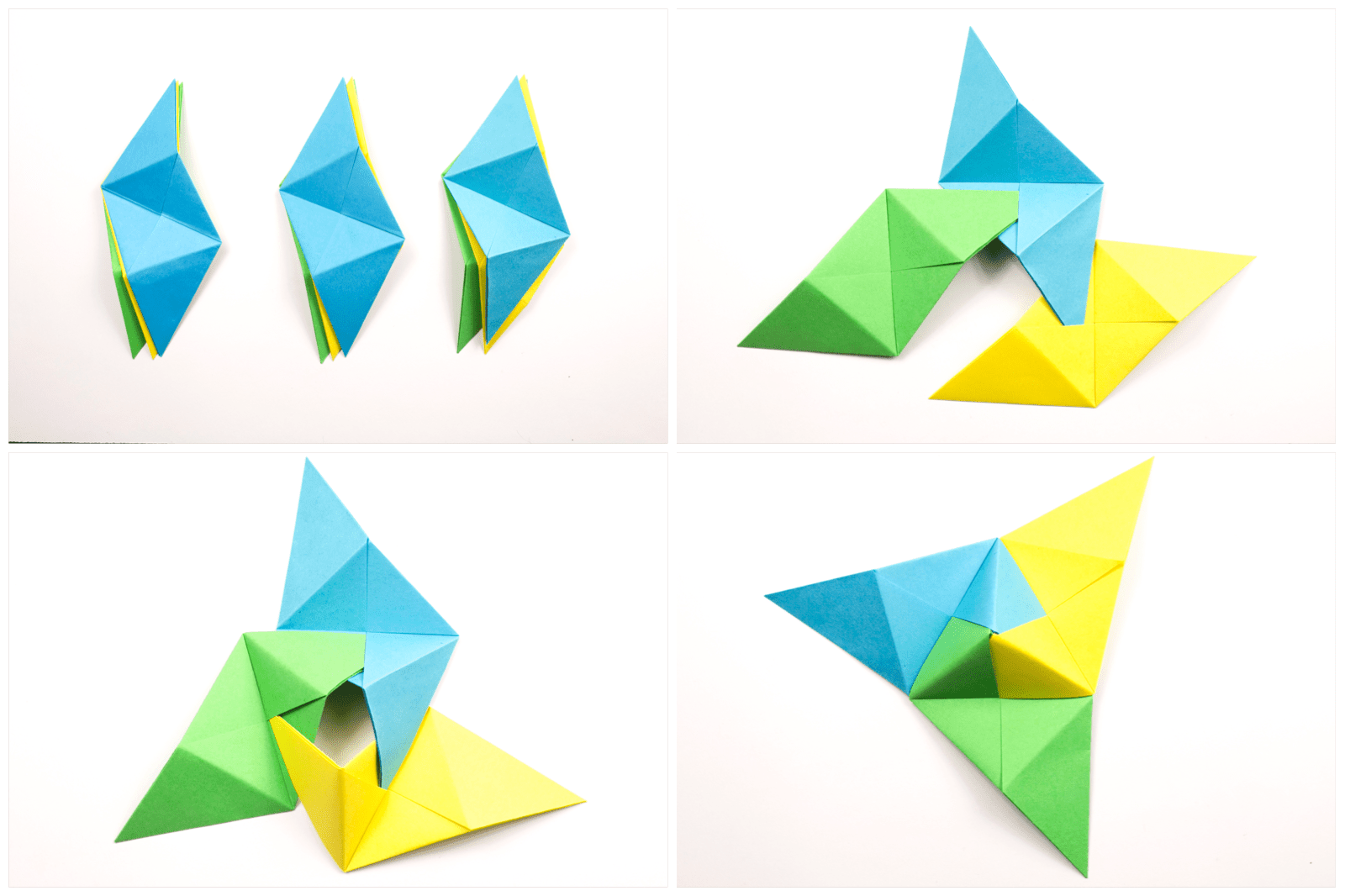 Origami Sonobe wall display combination step 1